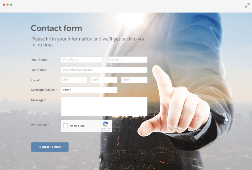 free contact form template