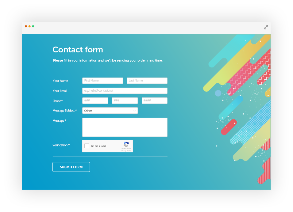 Free css form generator by 123formbuilder ex 123contactform for How to create template in php