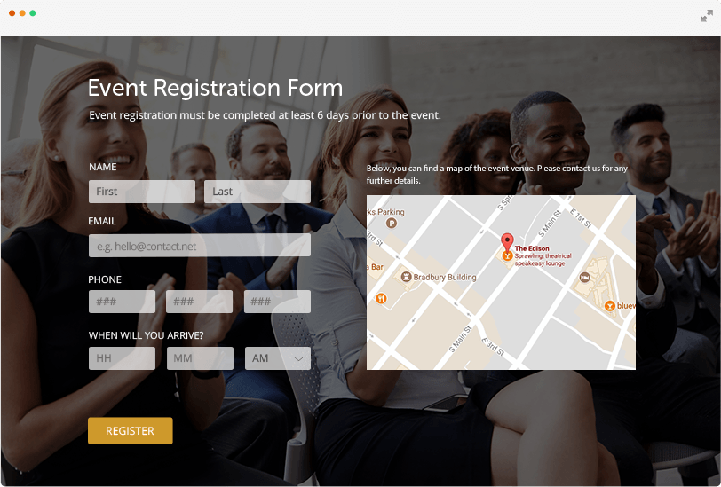 free online event registration form template