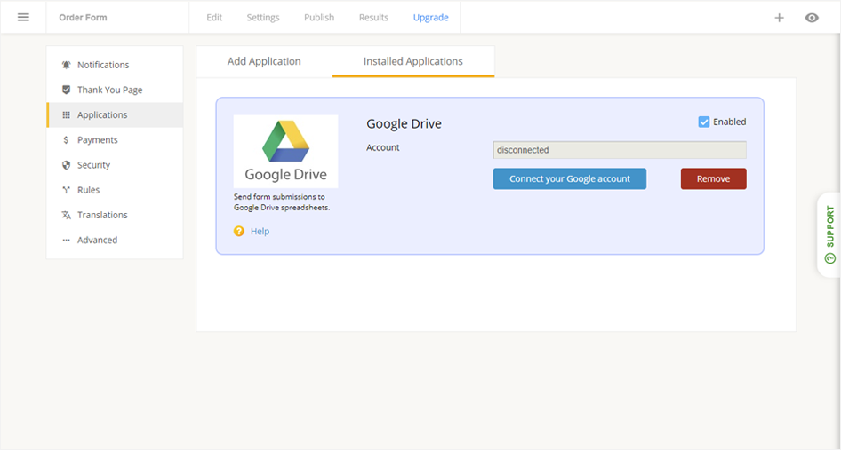 form builder with google drive sheet integration