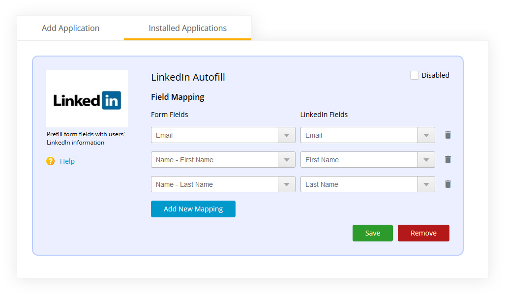 form builder with Linkedin profile autocomplete