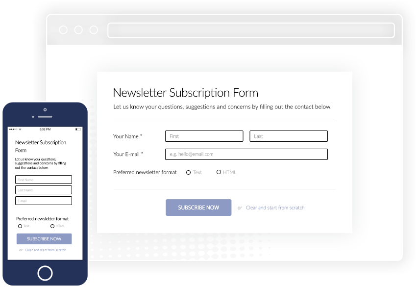 Wordpress Autopopup Newsletter browser on desktop and mobile