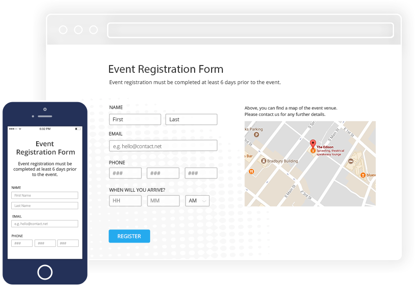 Wordpress Event Registration Plugin browser on desktop and mobile