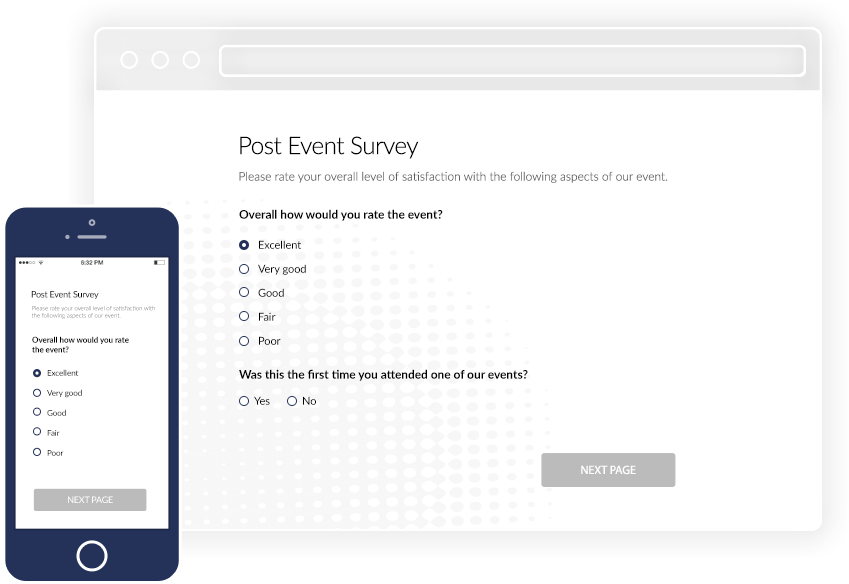 Post Event Survey browser on desktop and mobile