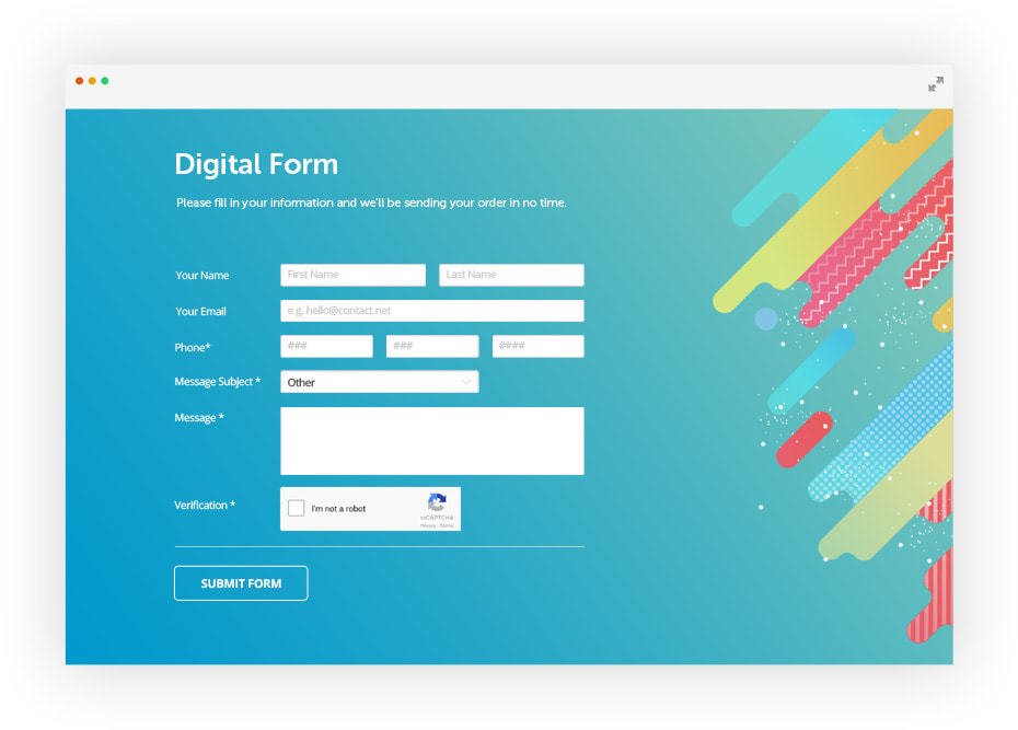 digital form example