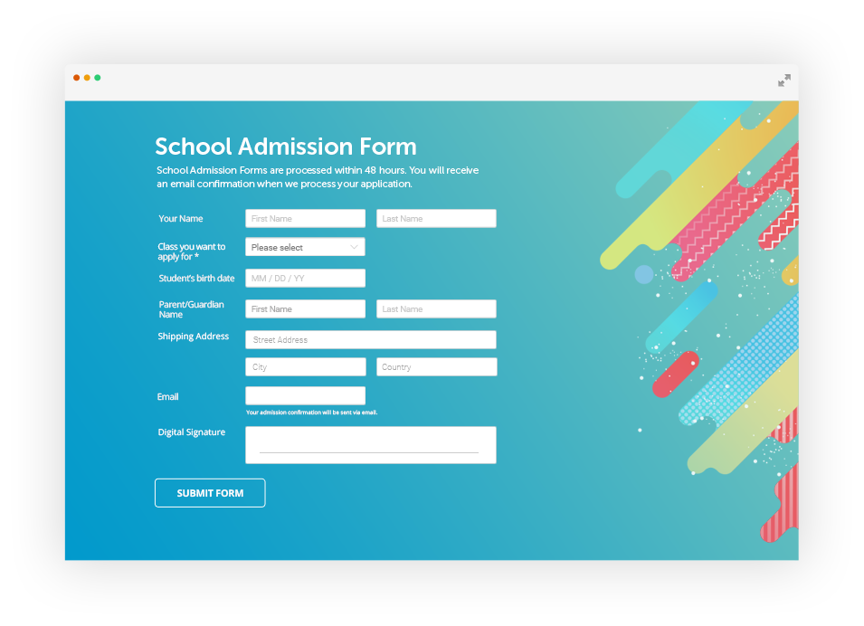 online school admission form with custom design