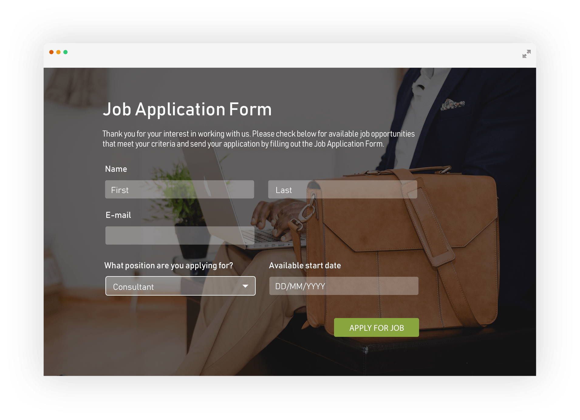eform for job application