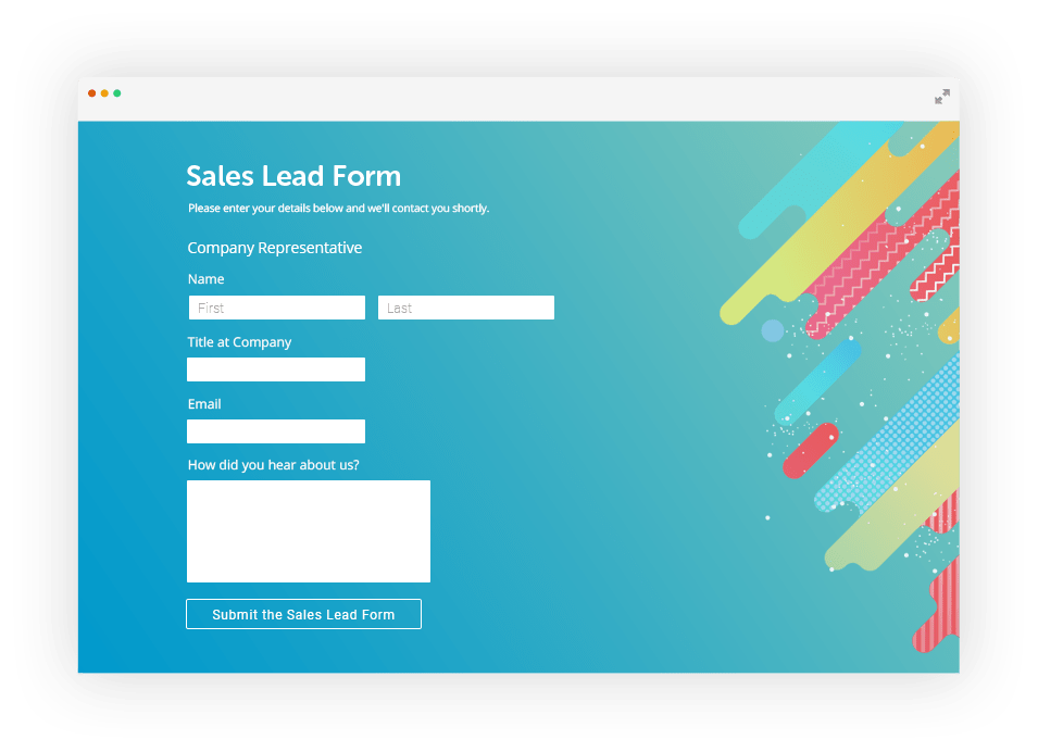 Sales lead form with GetResponse integration