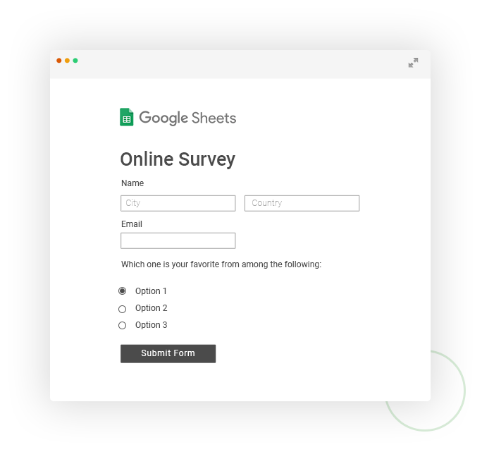 survey that sends data to google sheets