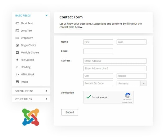 joomla contact form builder
