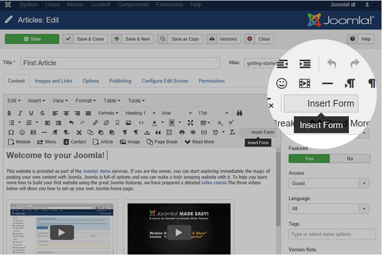joomla UI with 123formbuilder extension