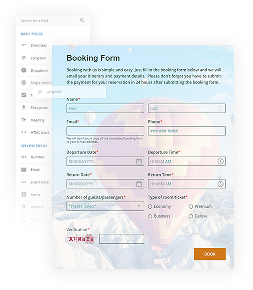 123 Booking Form