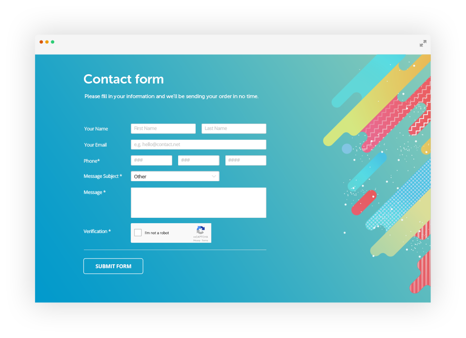 Free jquery contact form builder 123formbuilder ex for Jquery registration form template
