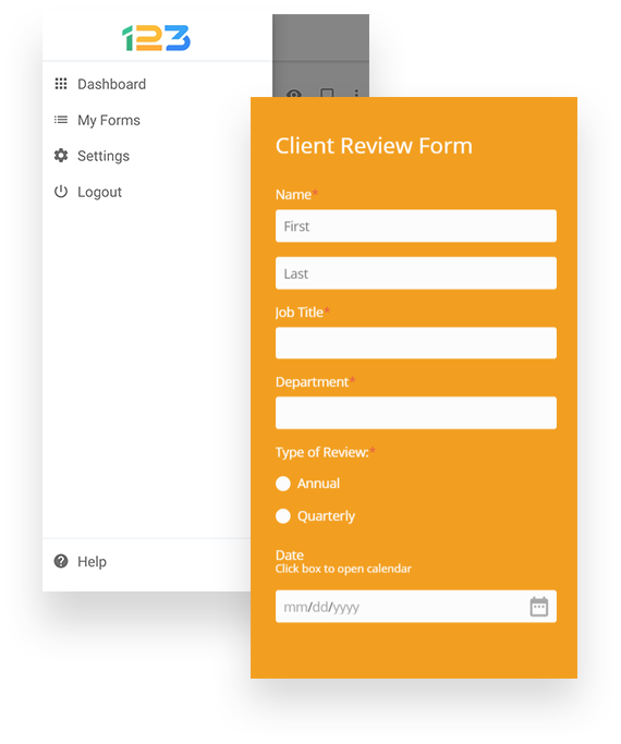 client review form with offline mode
