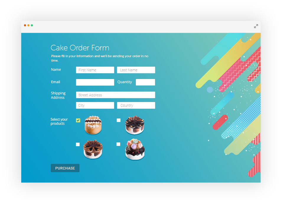 Facebook order form with personalized styling elements