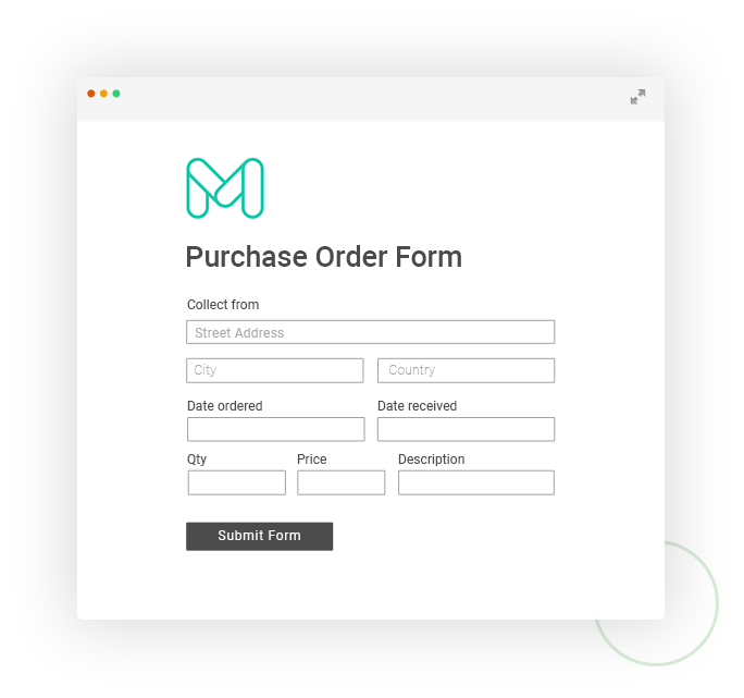 Moonfruit purchase order form application example