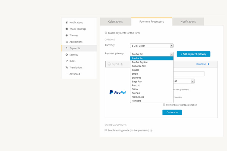 integrating your online order form with paypal