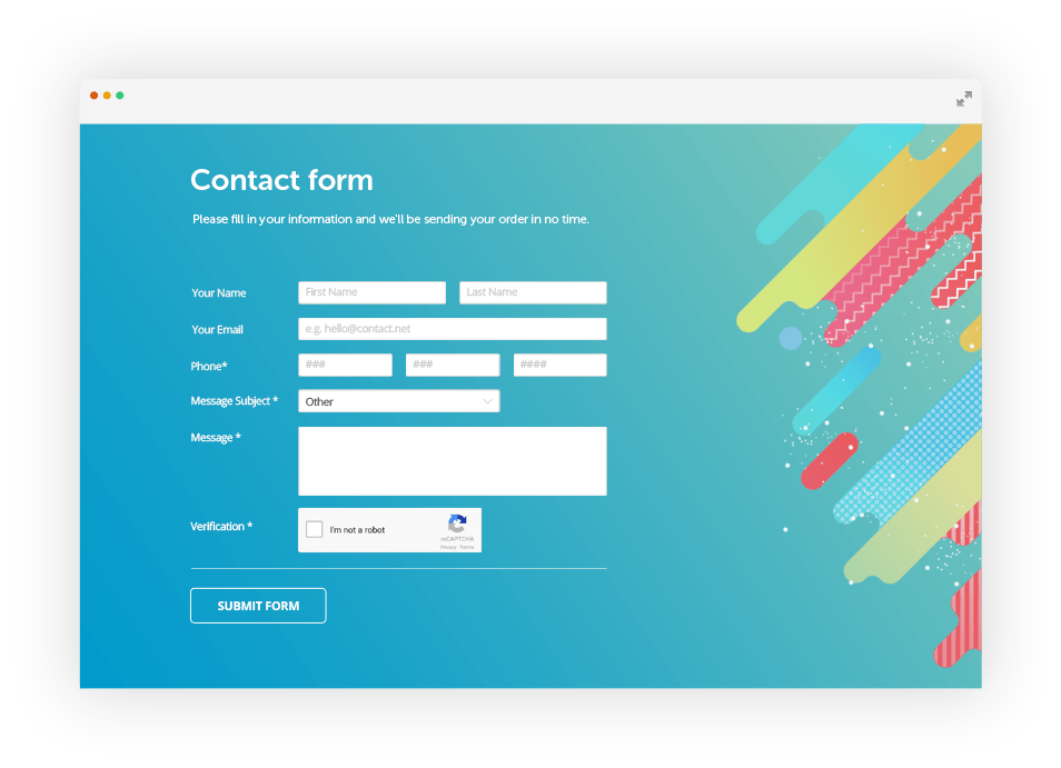 Free simple html contact form code generator 123formbuilder for Simple php page template