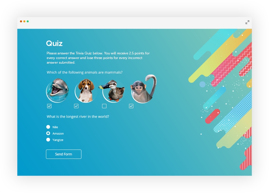 online quiz with images as choices