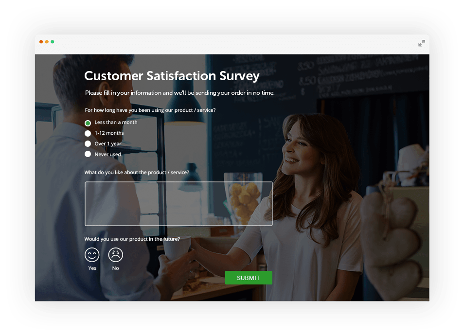 customer satisfaction survey with background image of two people smiling