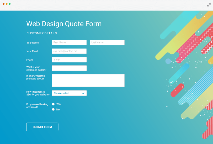 Custom online forms for web designers